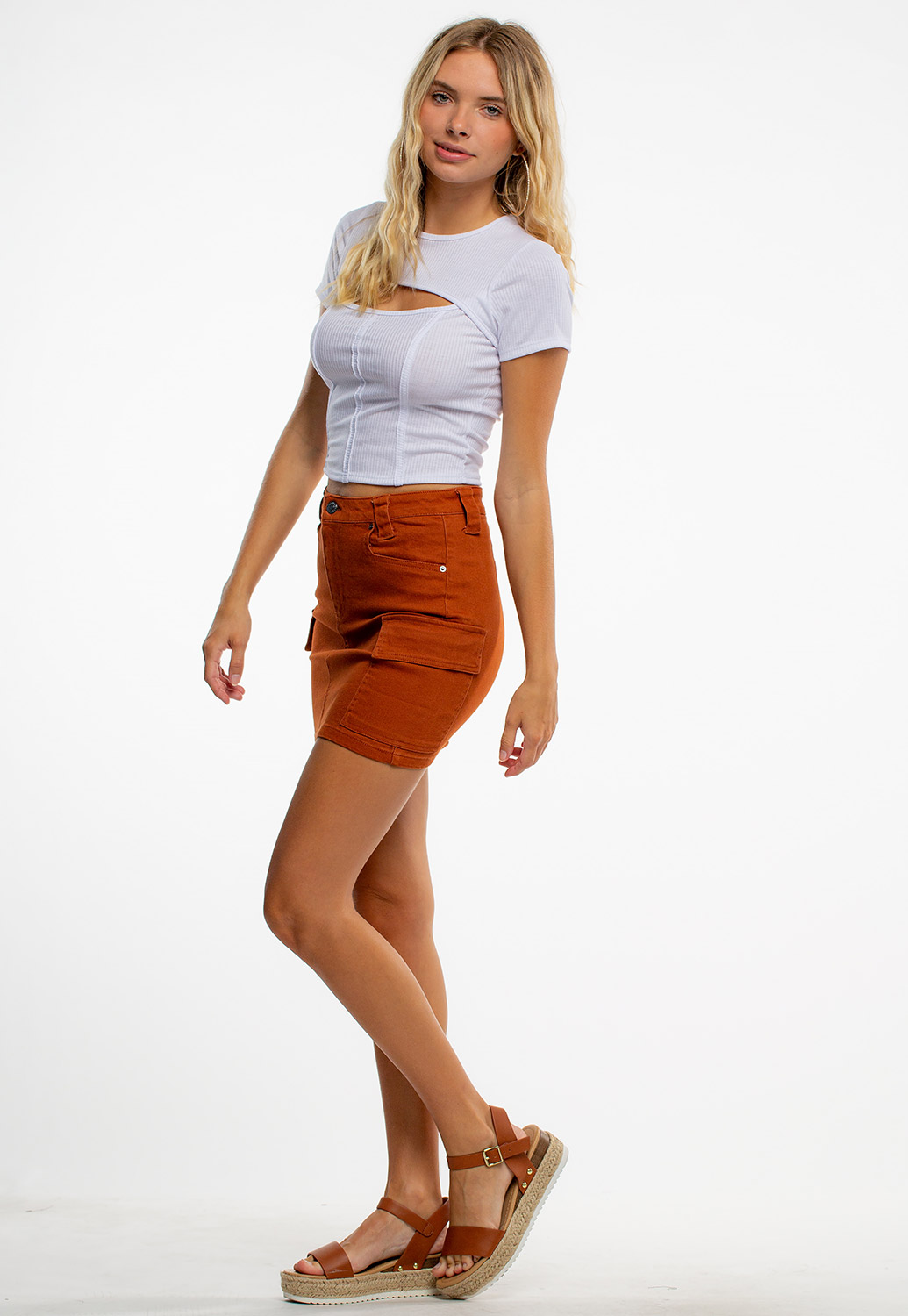 Cut Out Front Solid Ribbed Crop Top