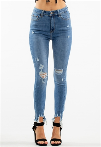 Mid-Rise Distressed Skinny Denim Jeans