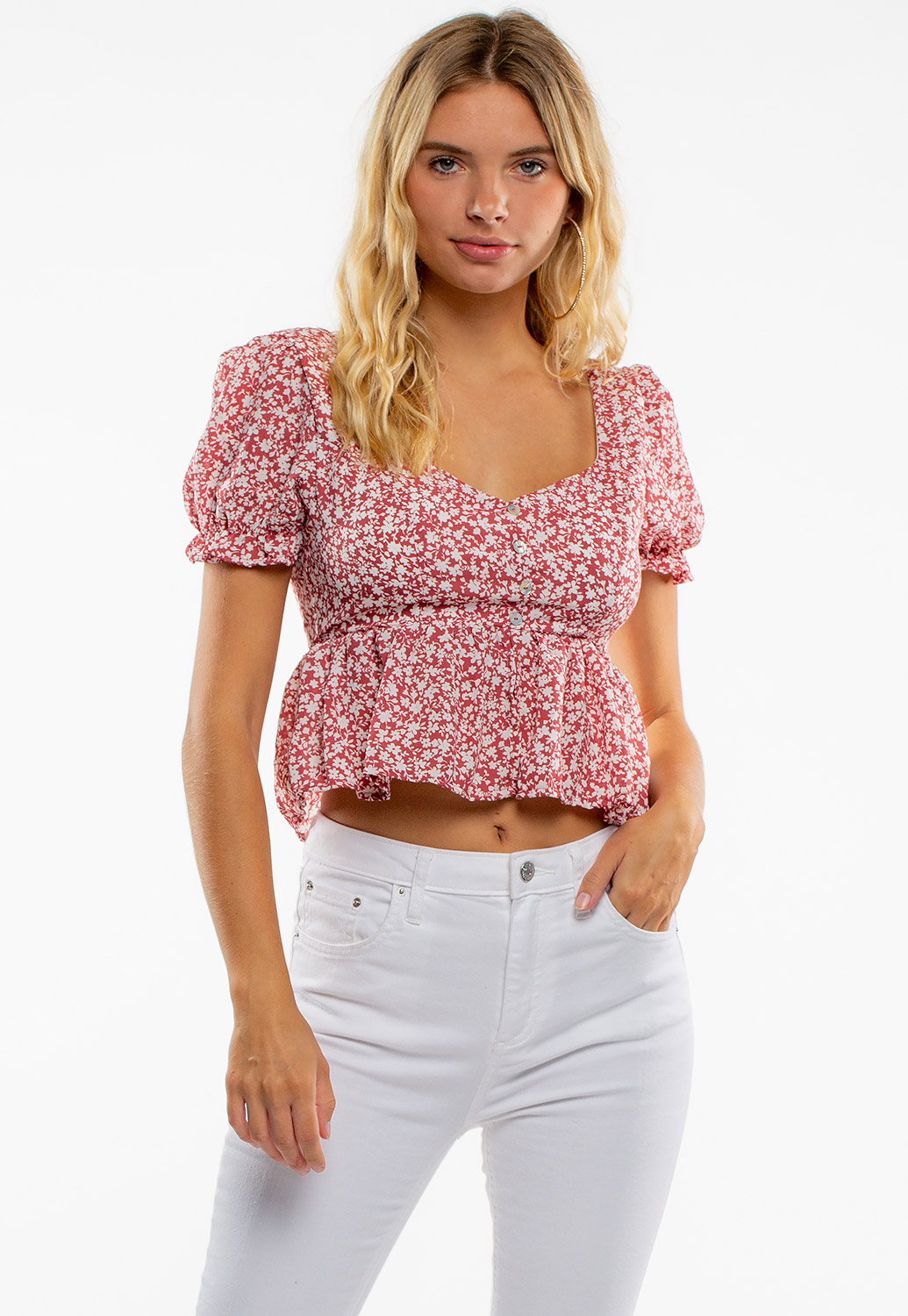 Summer Floral Puff-Sleeve Crop Blouse