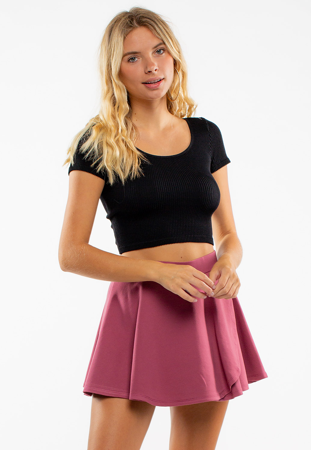 Deep Round Neck Ribbed Crop Top