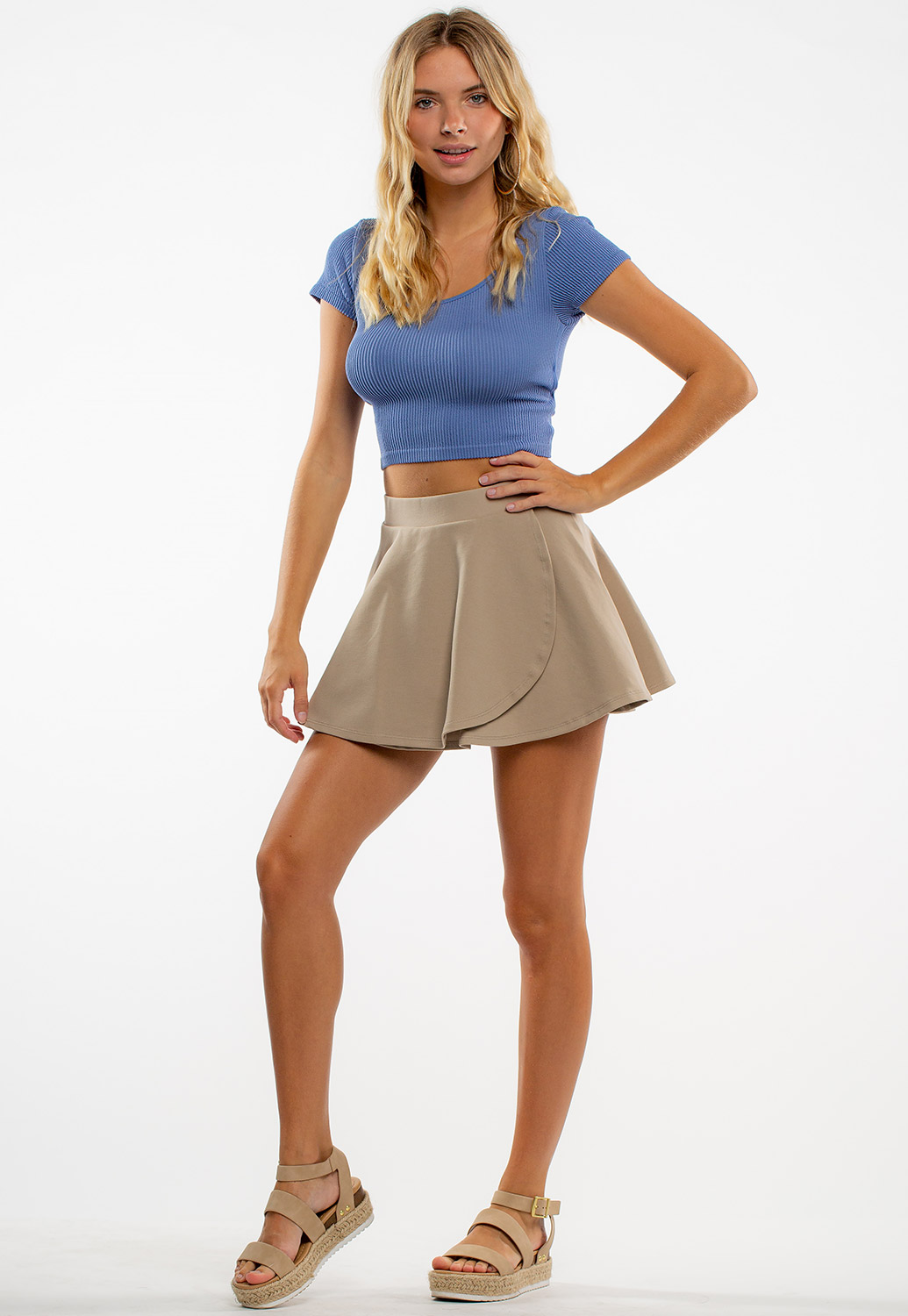 High-Waisted A Line Mini Skirt