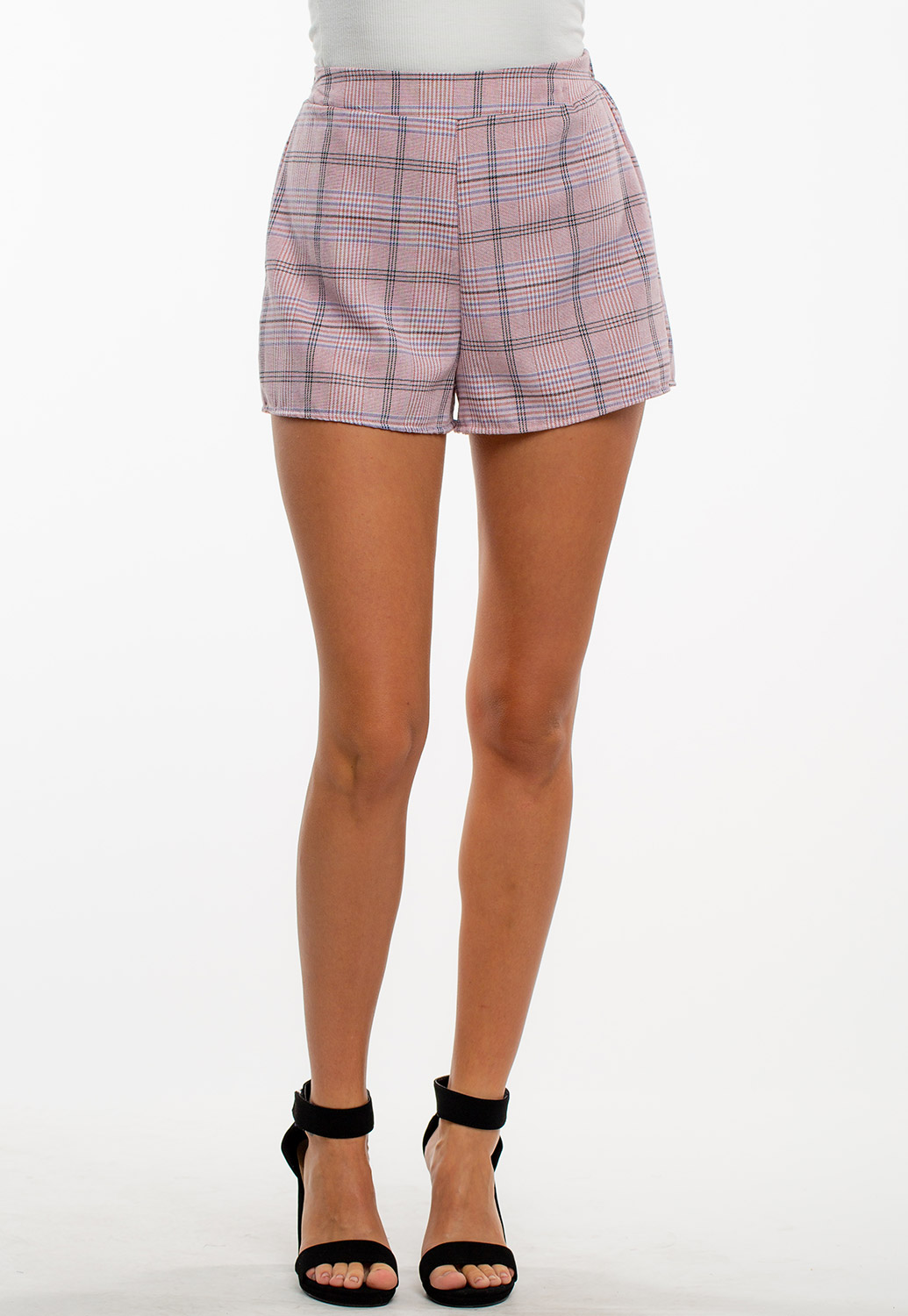 Summer Dressy High-Rise Plaid Shorts