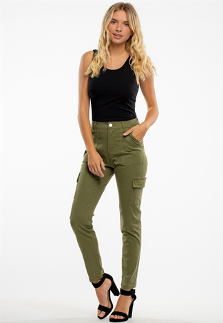 High-Rise Casual Long Pants With Pockets