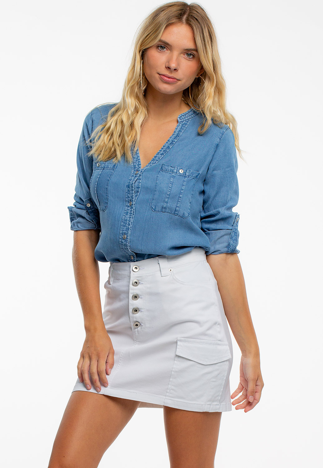 Button Up Mini Skirt With Pockets