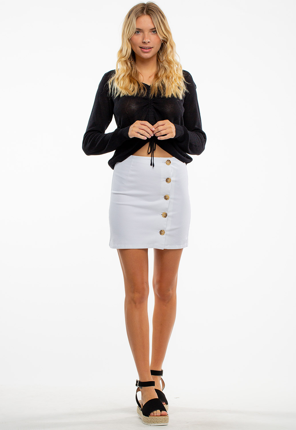 Side Button Up Mini Skirt