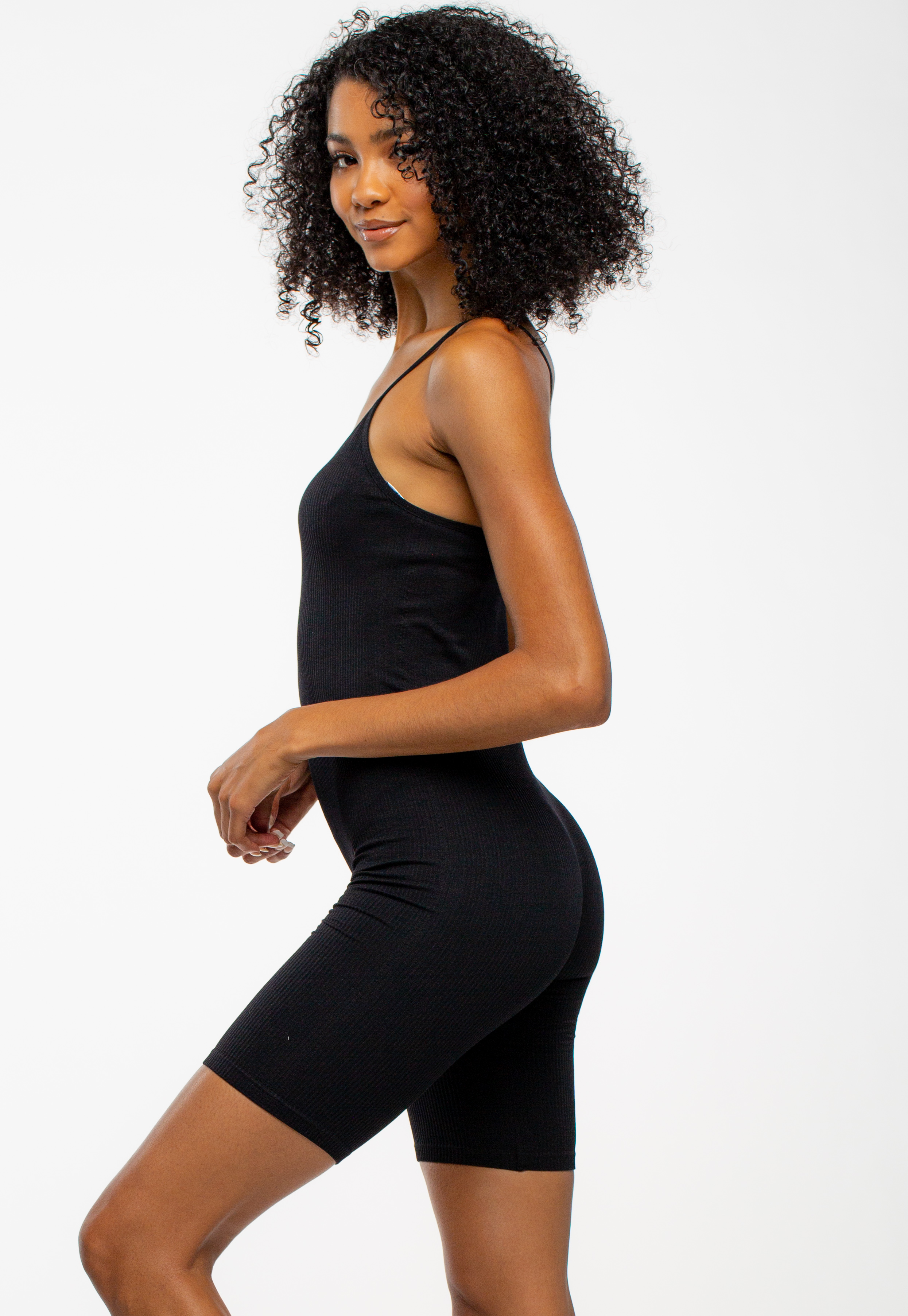 Basic Black Ribbed Strappy Romper