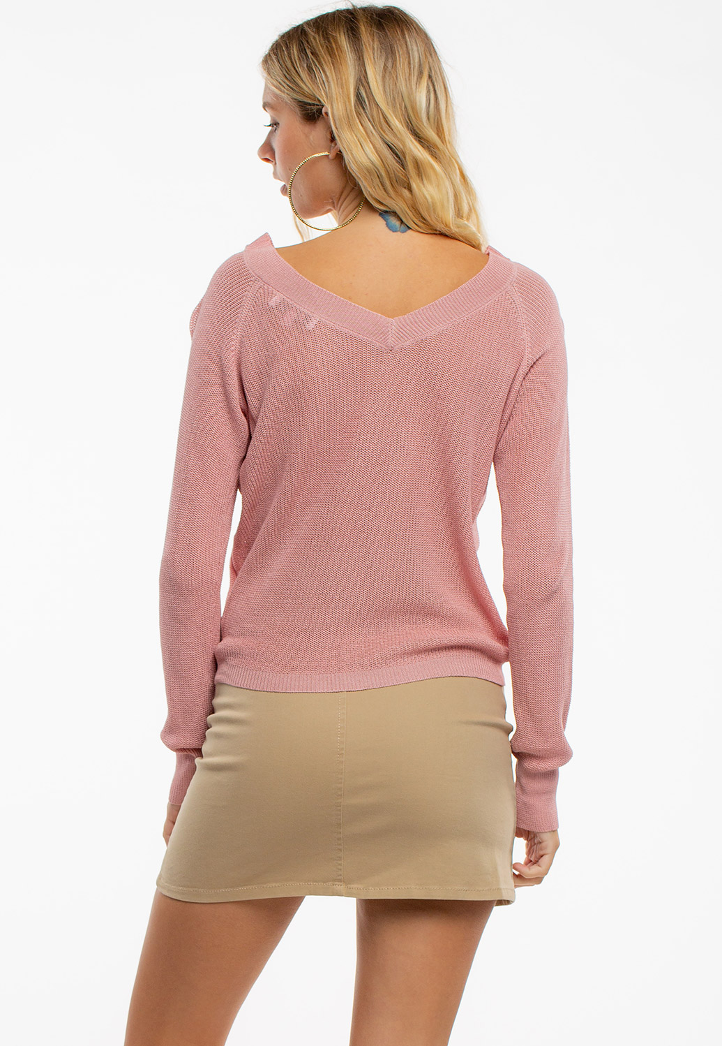 Front Drawstring V-Neck Knit Top