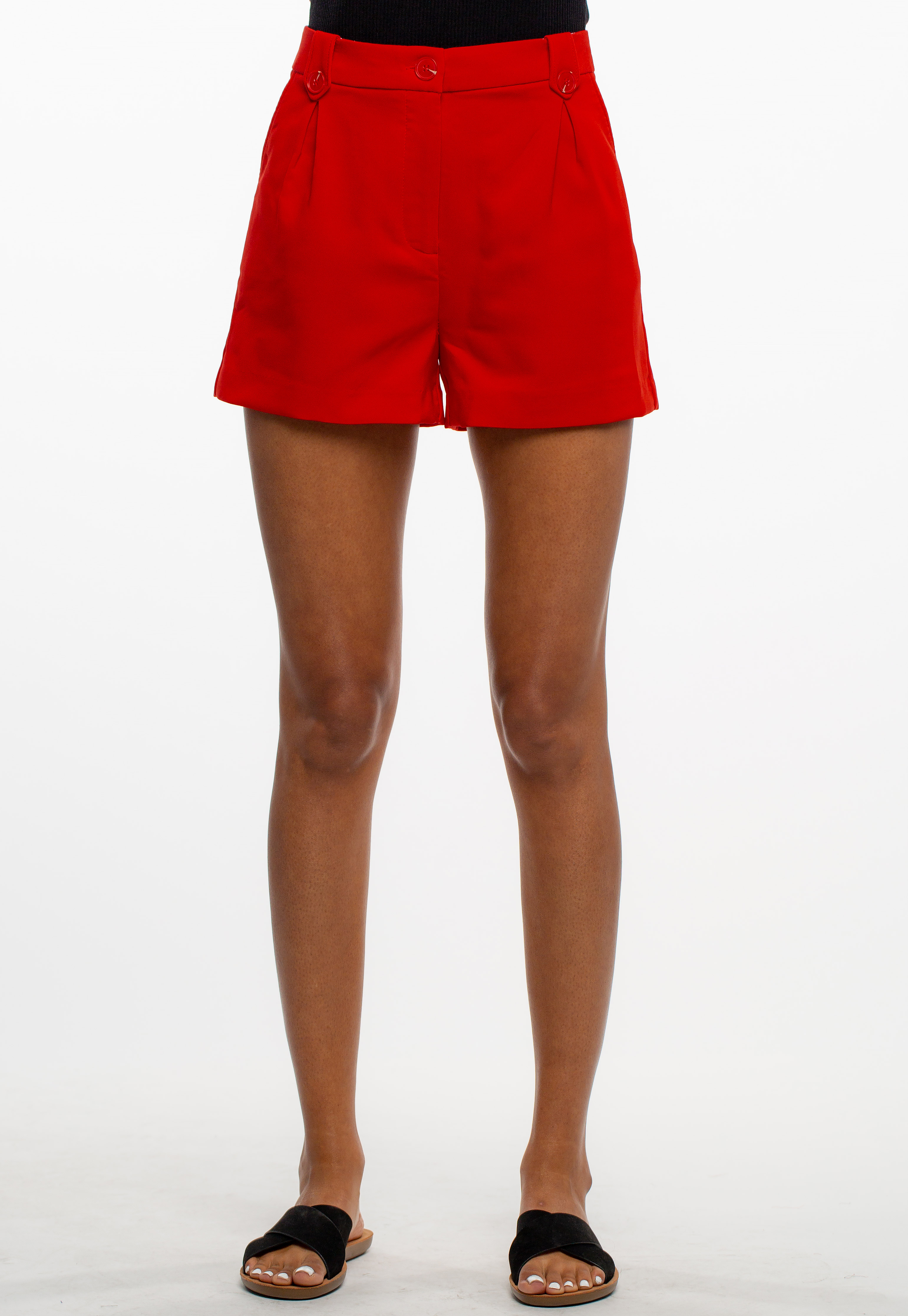 High-Rise Slightly Pleated Dressy Shorts