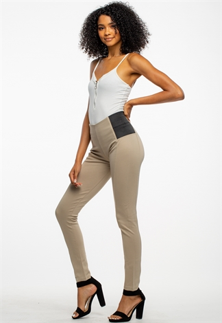 Solid Banded Waist Jeggings