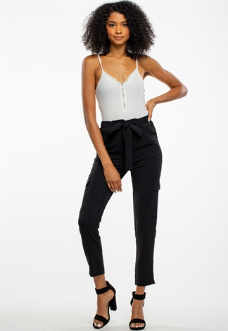 Waist Tie Dressy Long Pants With Pockets