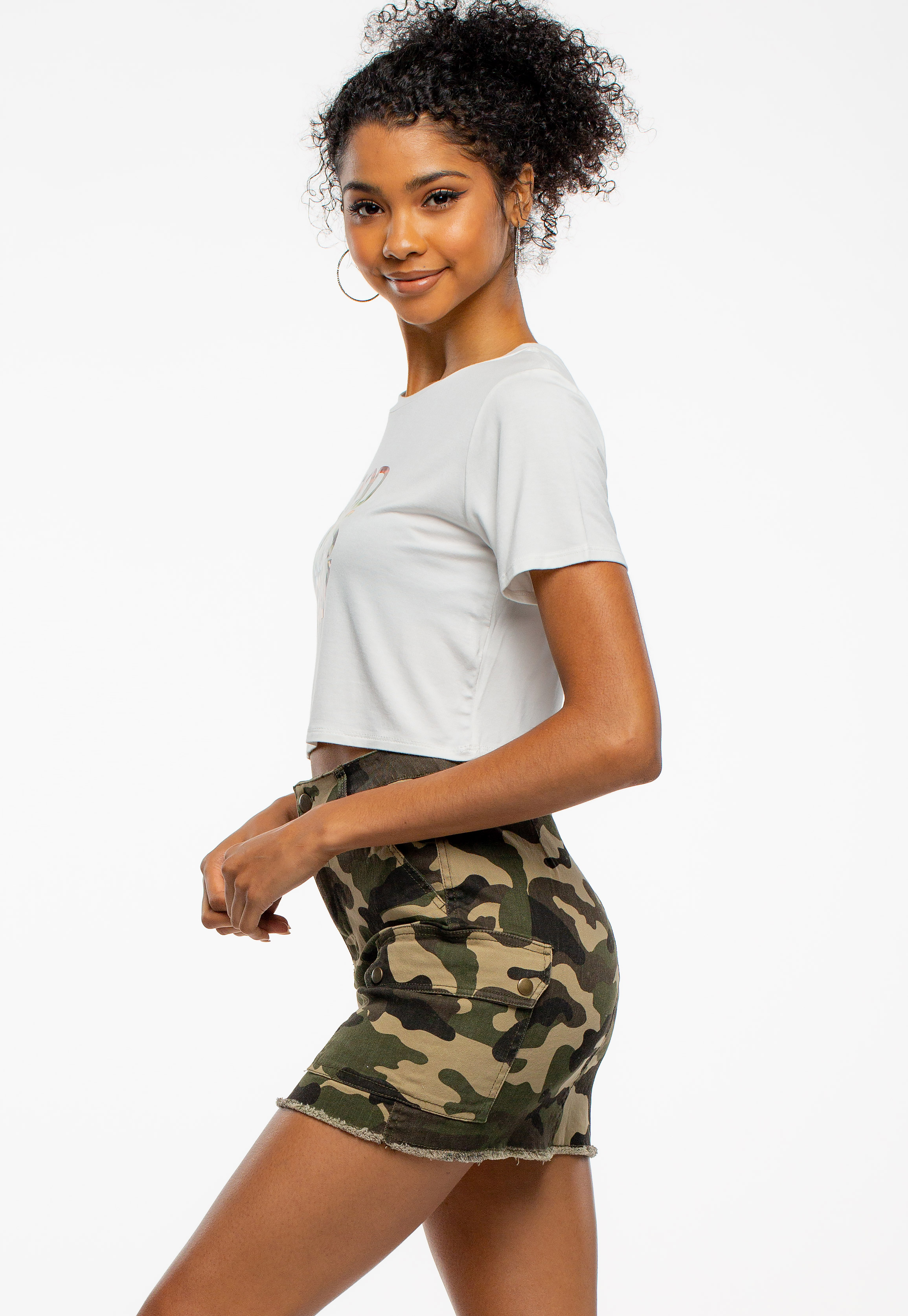 Camouflage Printed Mini Skirt With Pockets