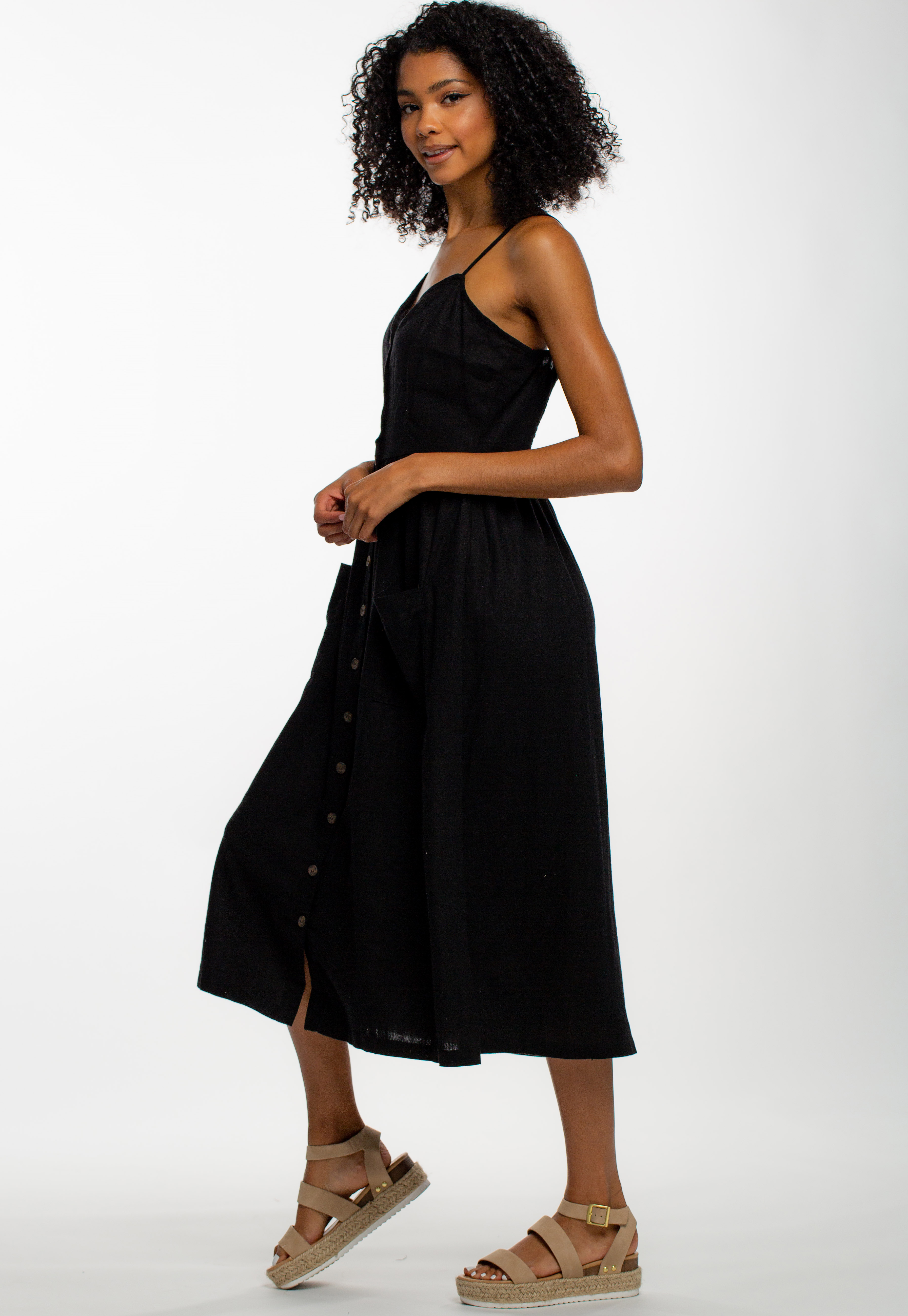 Casual Button Up Strappy Midi Dress With Pockets