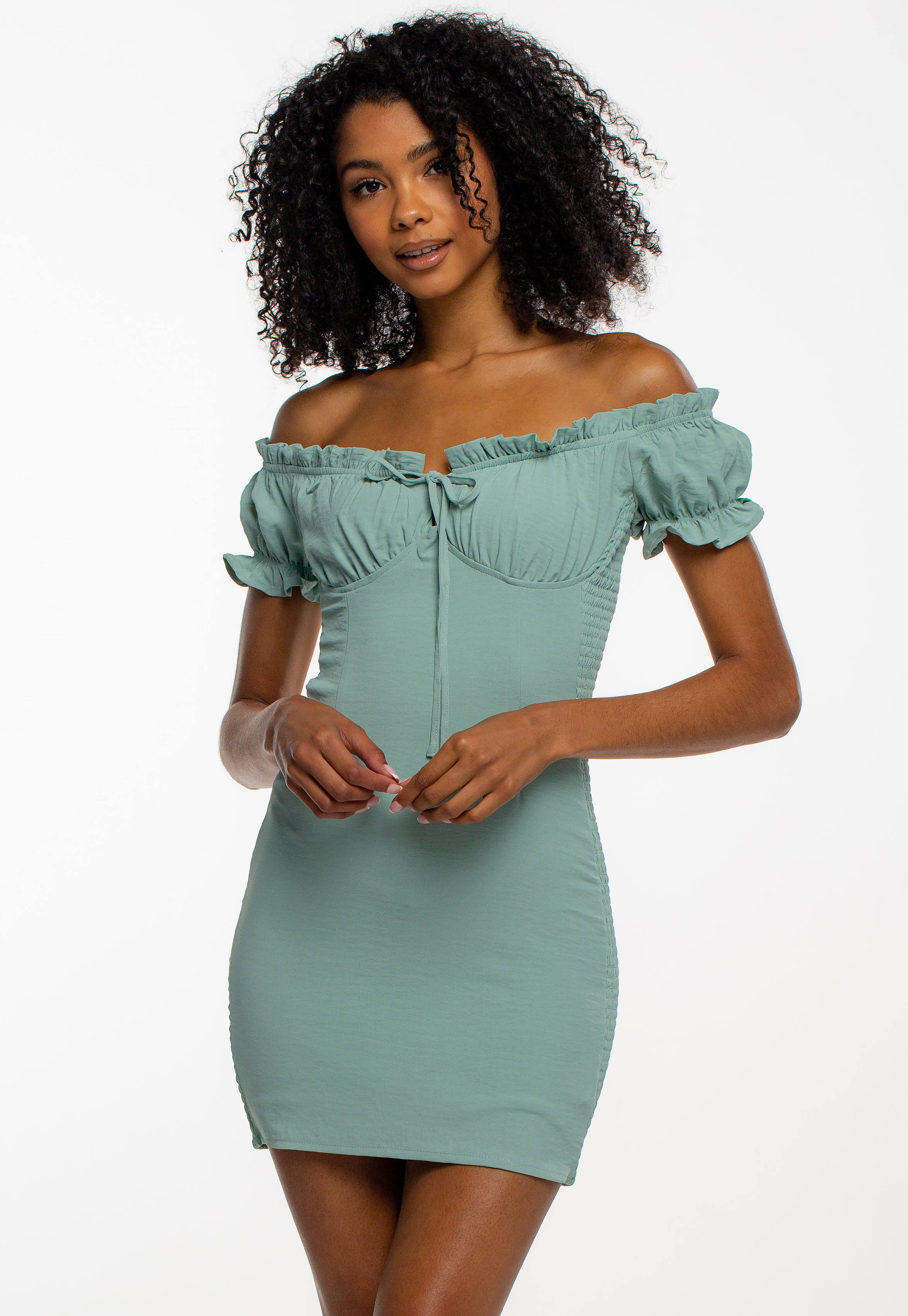 Off The Shoulder Smocked Bodycon Dress