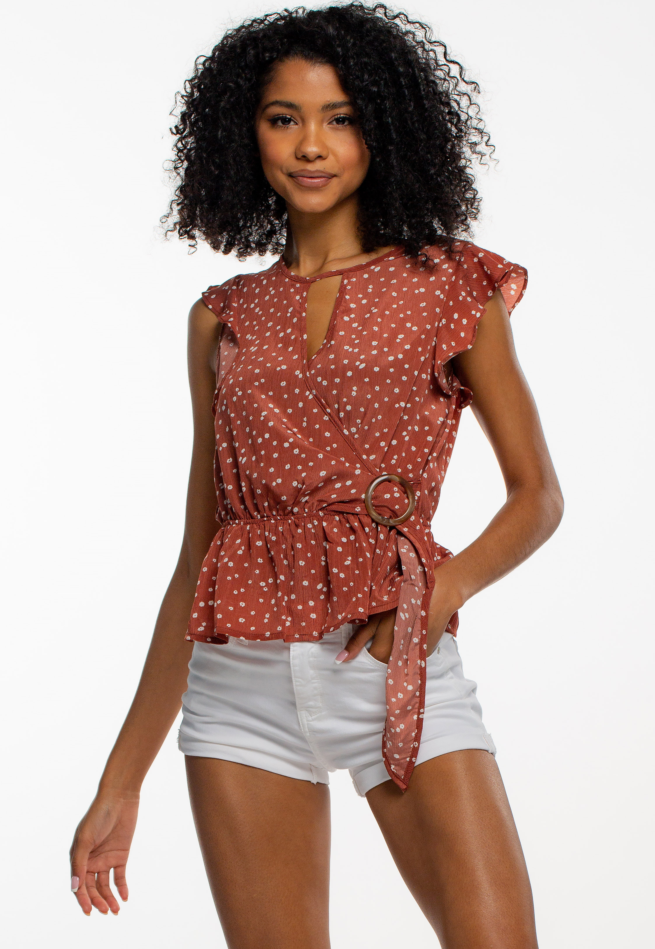 Waist Tie Floral Key-Hole Detailed Blouse