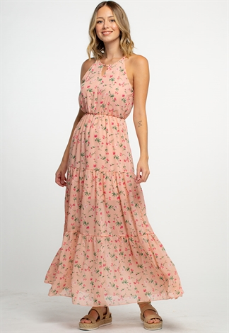 Key Hole Detailed Summer Floral Maxi Dress