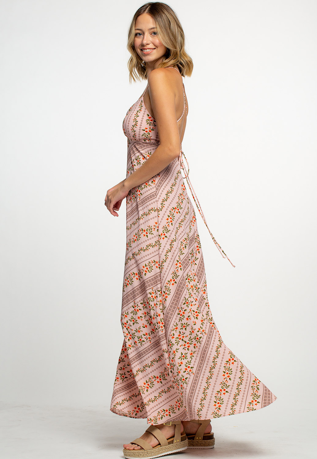 Floral Maxi Dress With Open Cross Tie Back