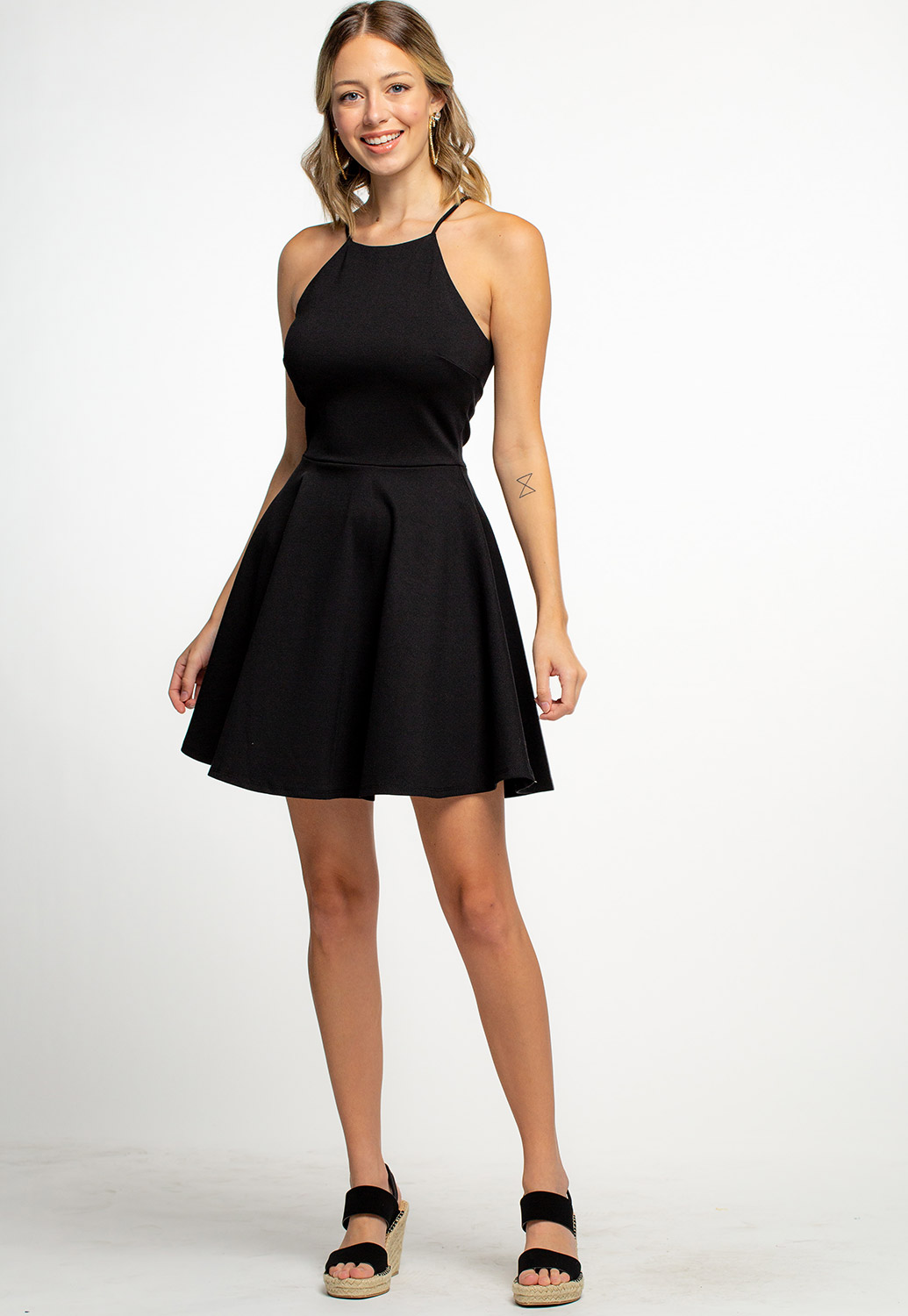 High Neck Sleeveless A-Line Mini Dress