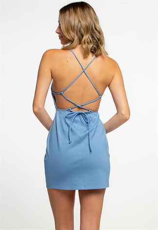 Strappy Mini Dress With Open Back With Cross Tie