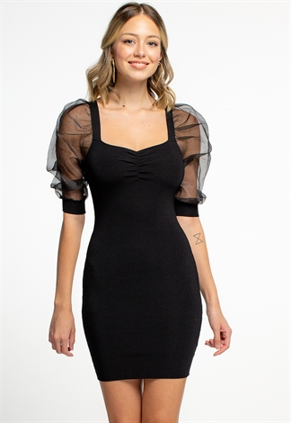 Mesh Puff Sleeved Bodycon Mini Dress