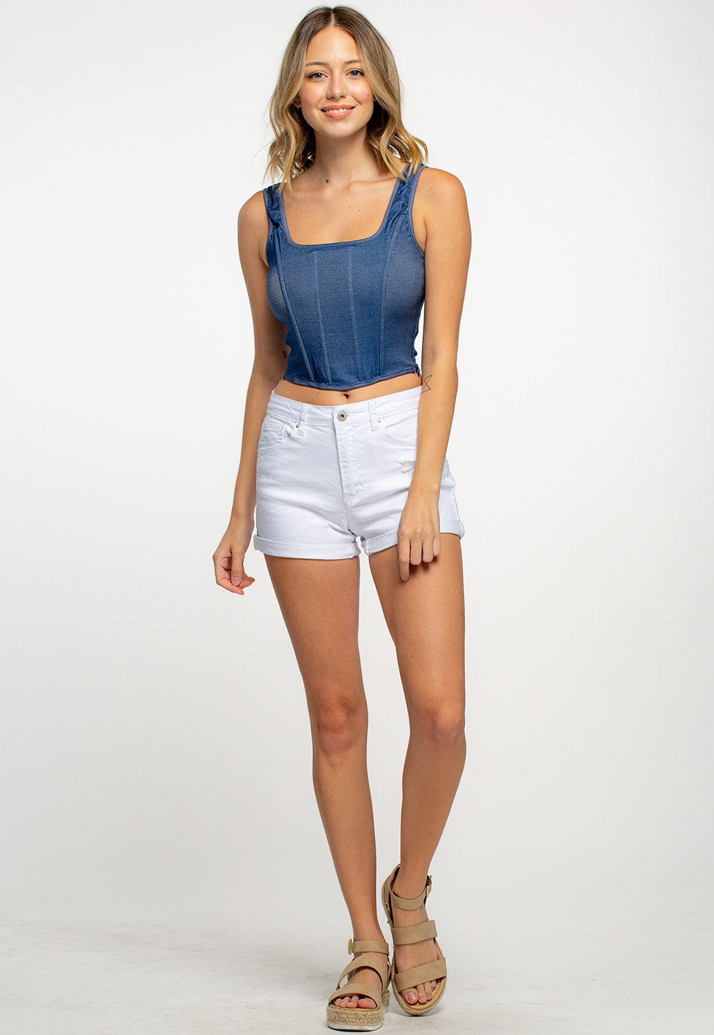 Square Neck Fitted Crop Top With Side Zip Up