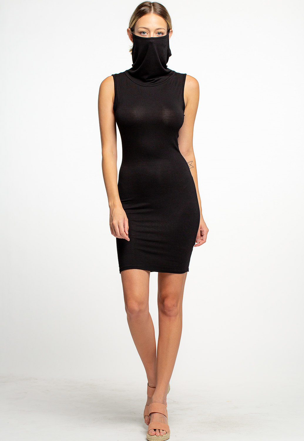 Basic Face Cover Up Cowl Neck Dress