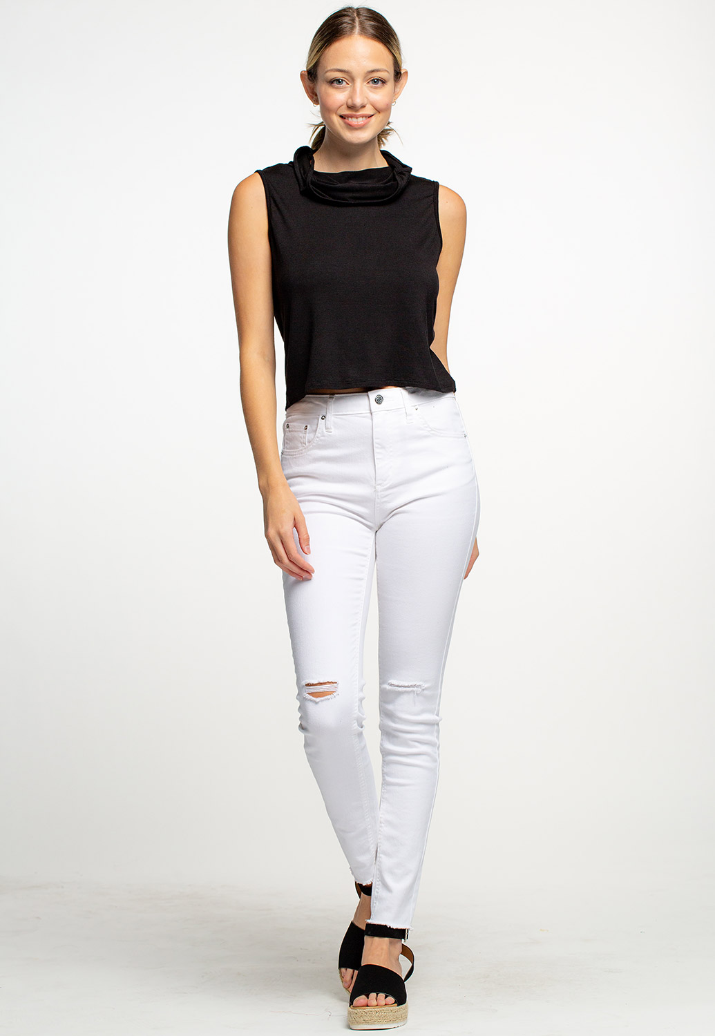 Face Cover Up Cowl Neck Tank Crop Top