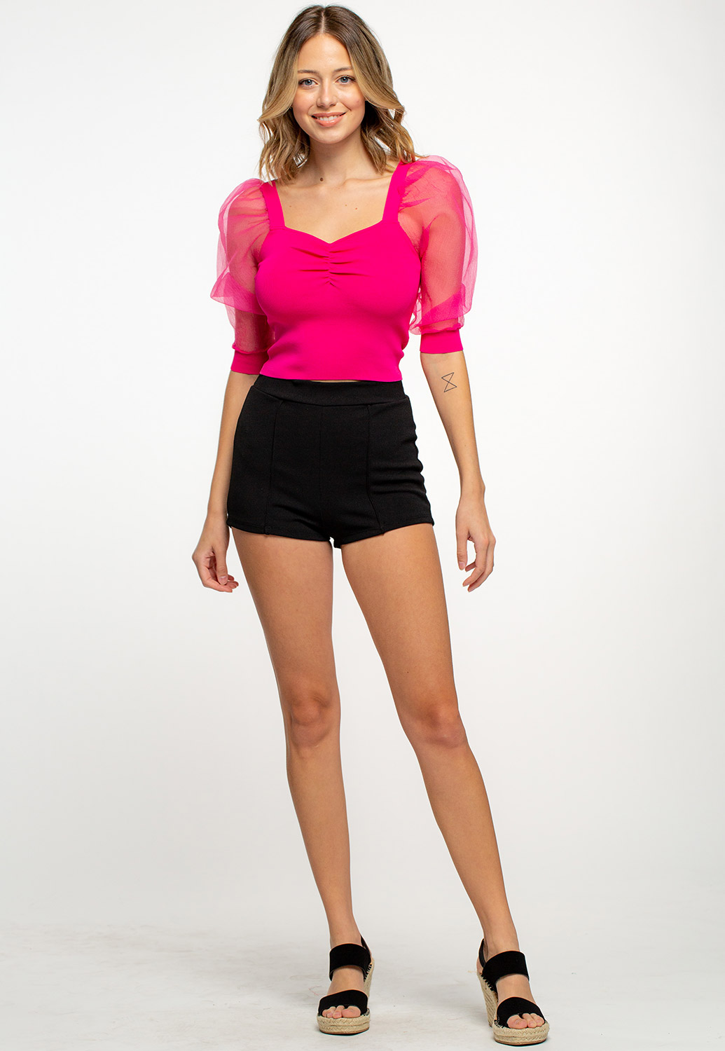 Square Neck Mesh Puff-Sleeved Top
