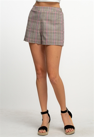 Plaid Printed Pull-On Shorts