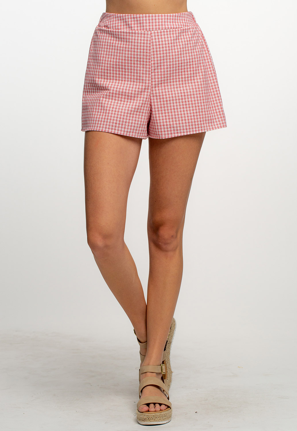 Gingham High-Waist Pull-On Shorts