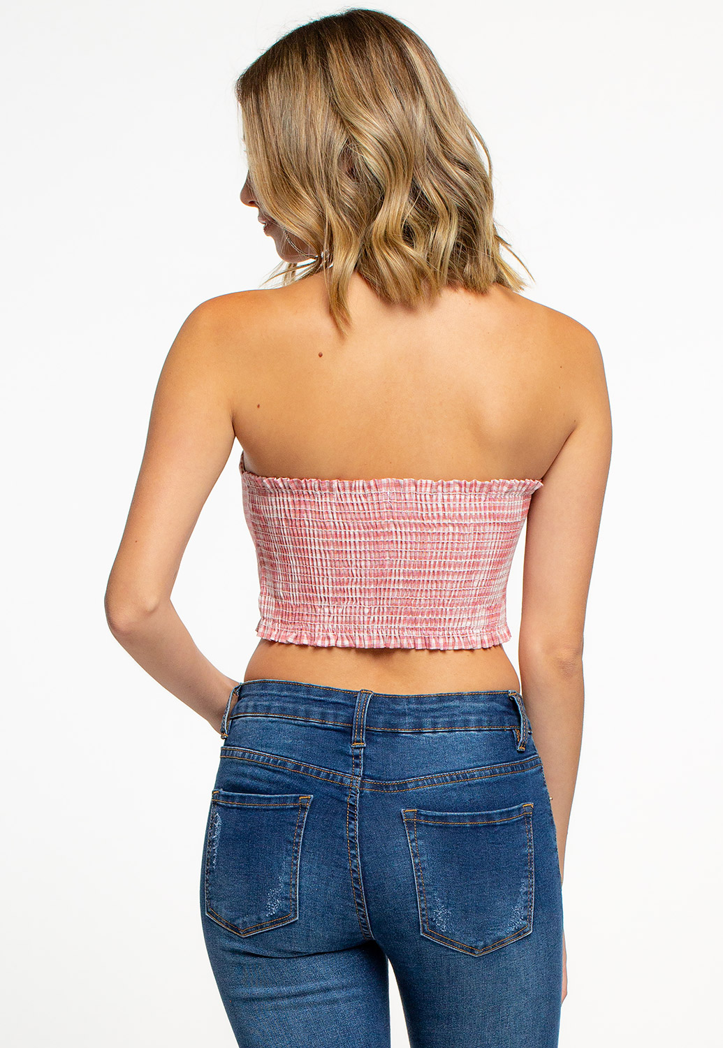 Gingham Cropped Tube Top With Smocked Back
