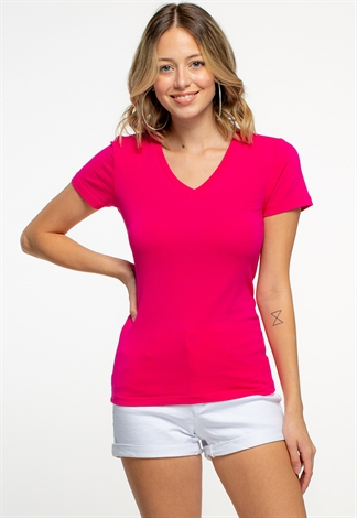 V-Neck Short Sleeve Summer Basic Tee