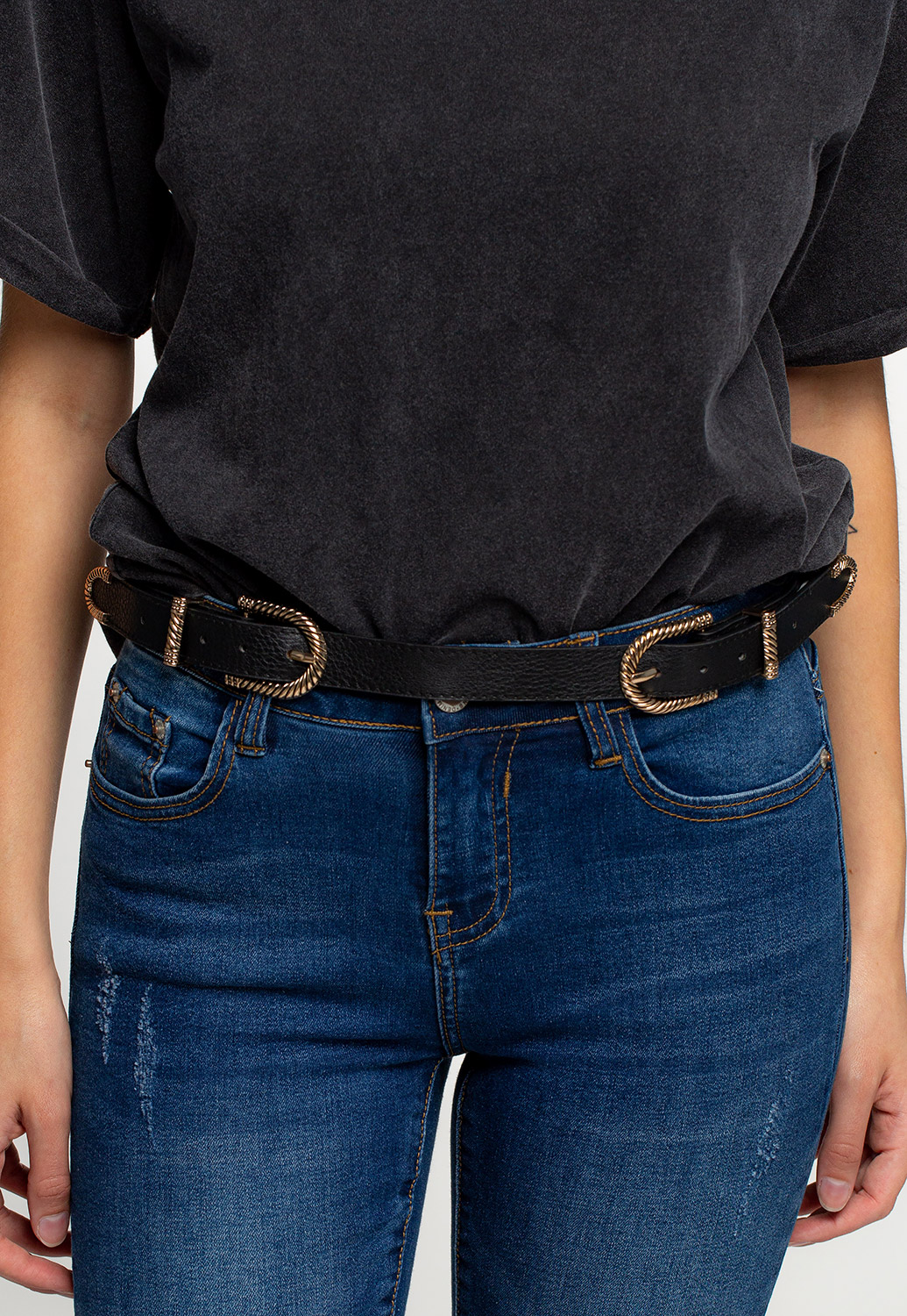 Faux Leather Double Buckle Belts