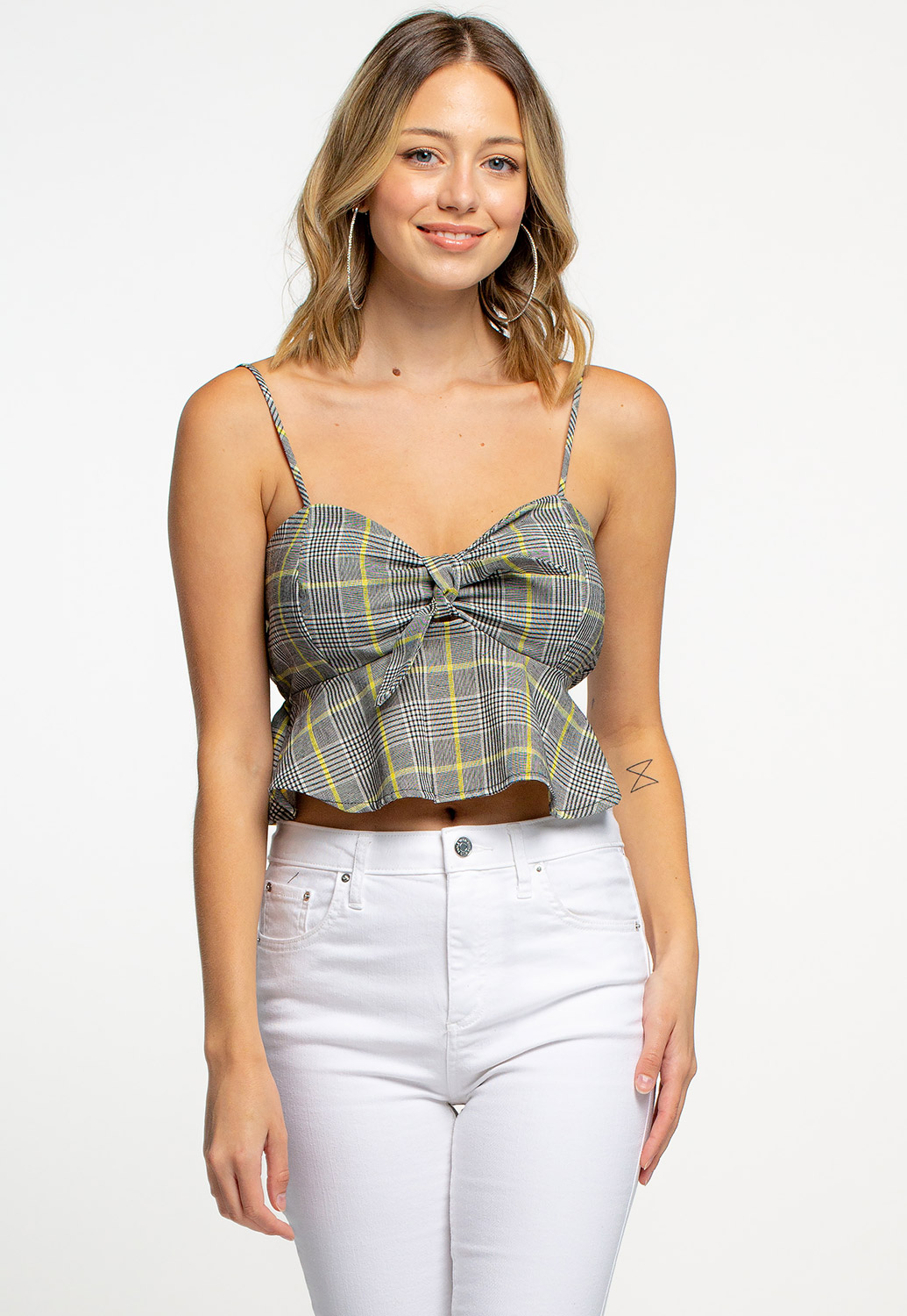 Plaid Printed Front-Tie Ruffle Hem Cropped Top