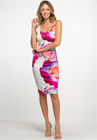 Floral Printed Sleeveless Midi Bodycon Dress