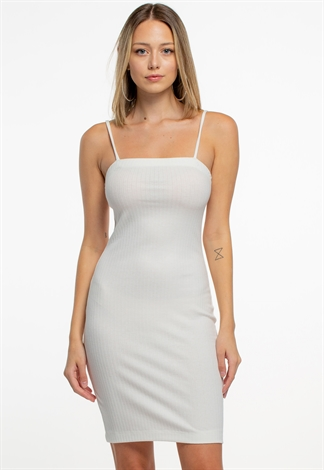 Strappy Ribbed Bodycon Mini Dress