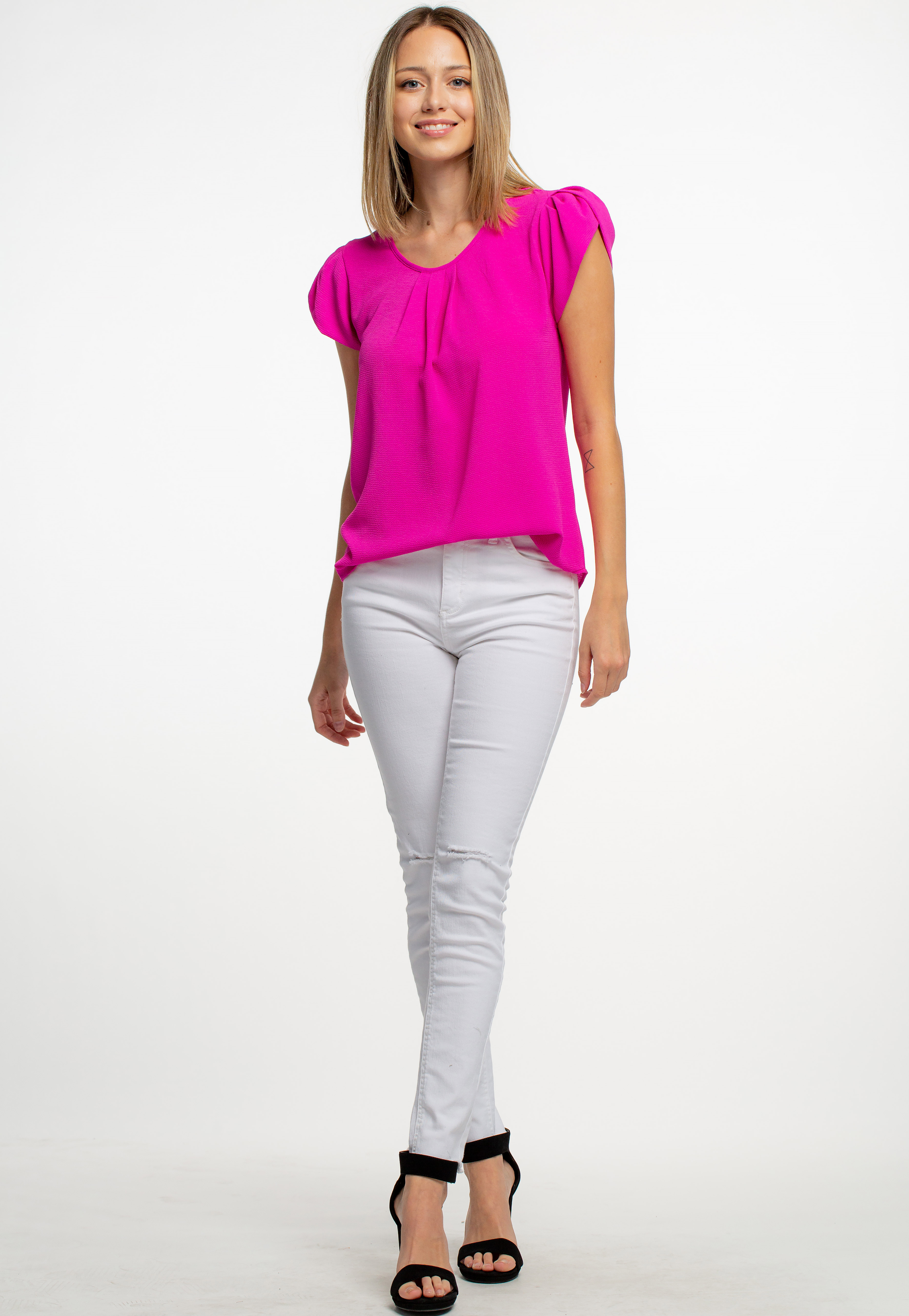 Front Shirred Round Neck Blouse