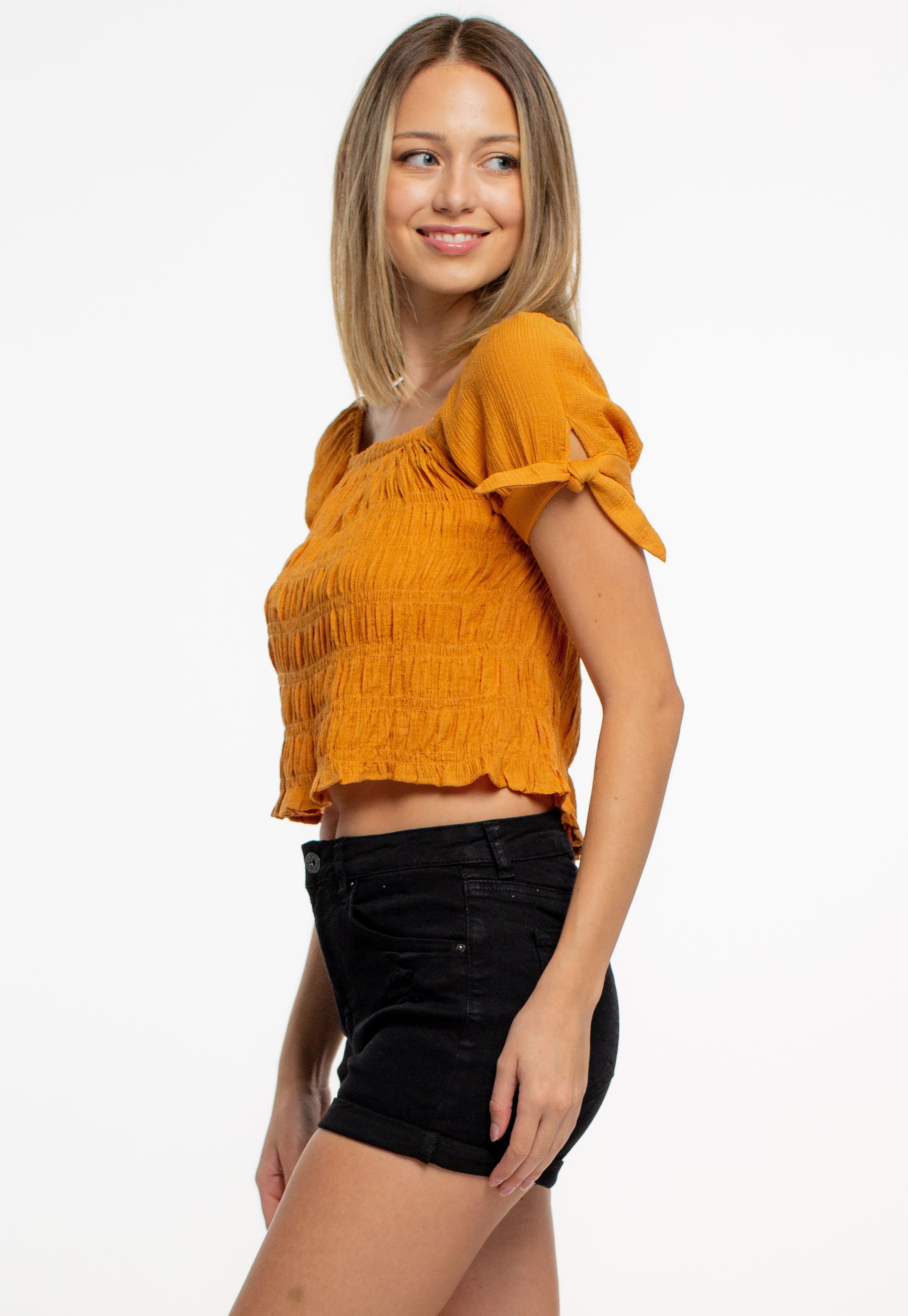 Frilled Trim Tie Knot Sleeve Crop Top