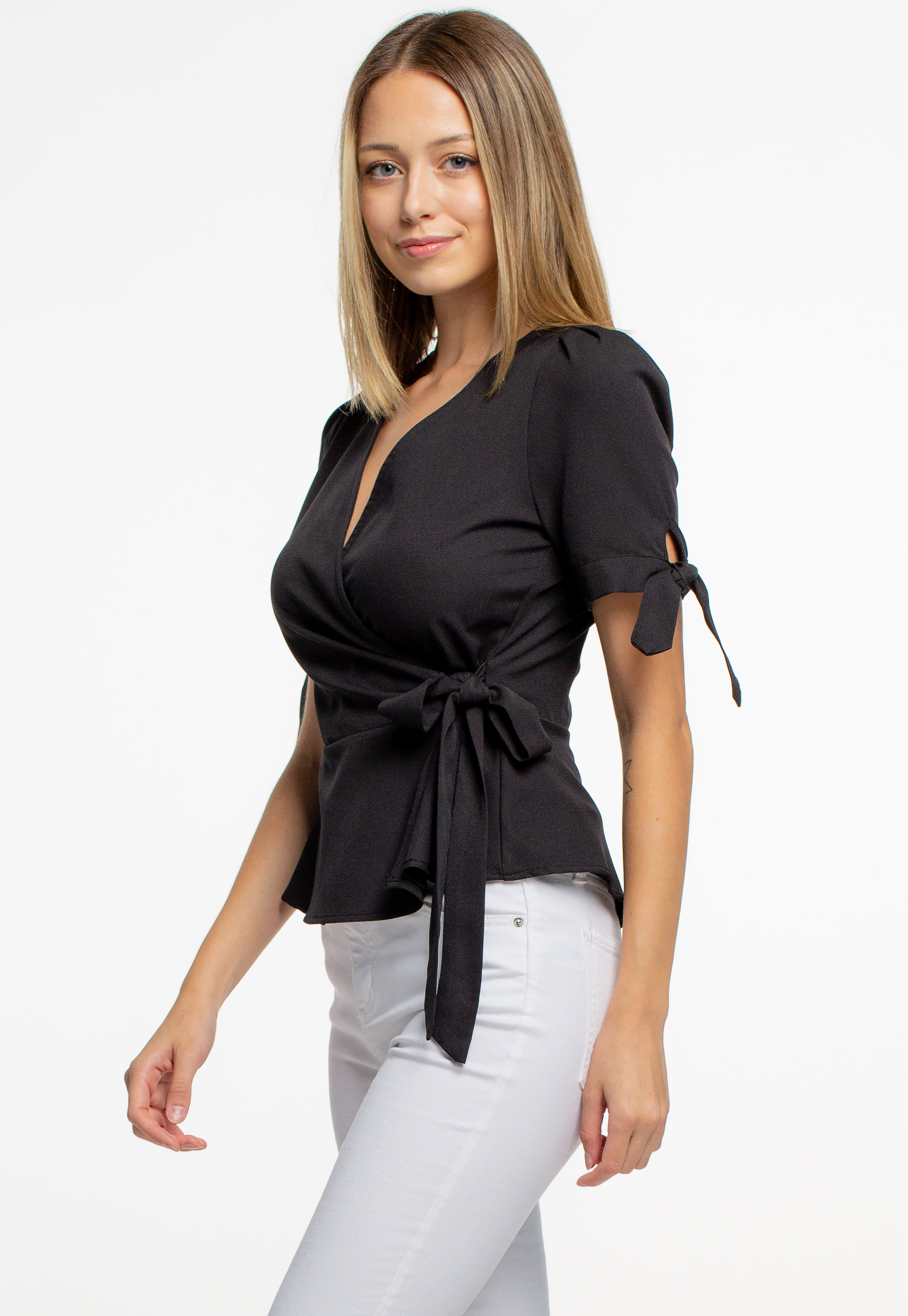 Front Tie & Tie Knot Sleeve Blouse
