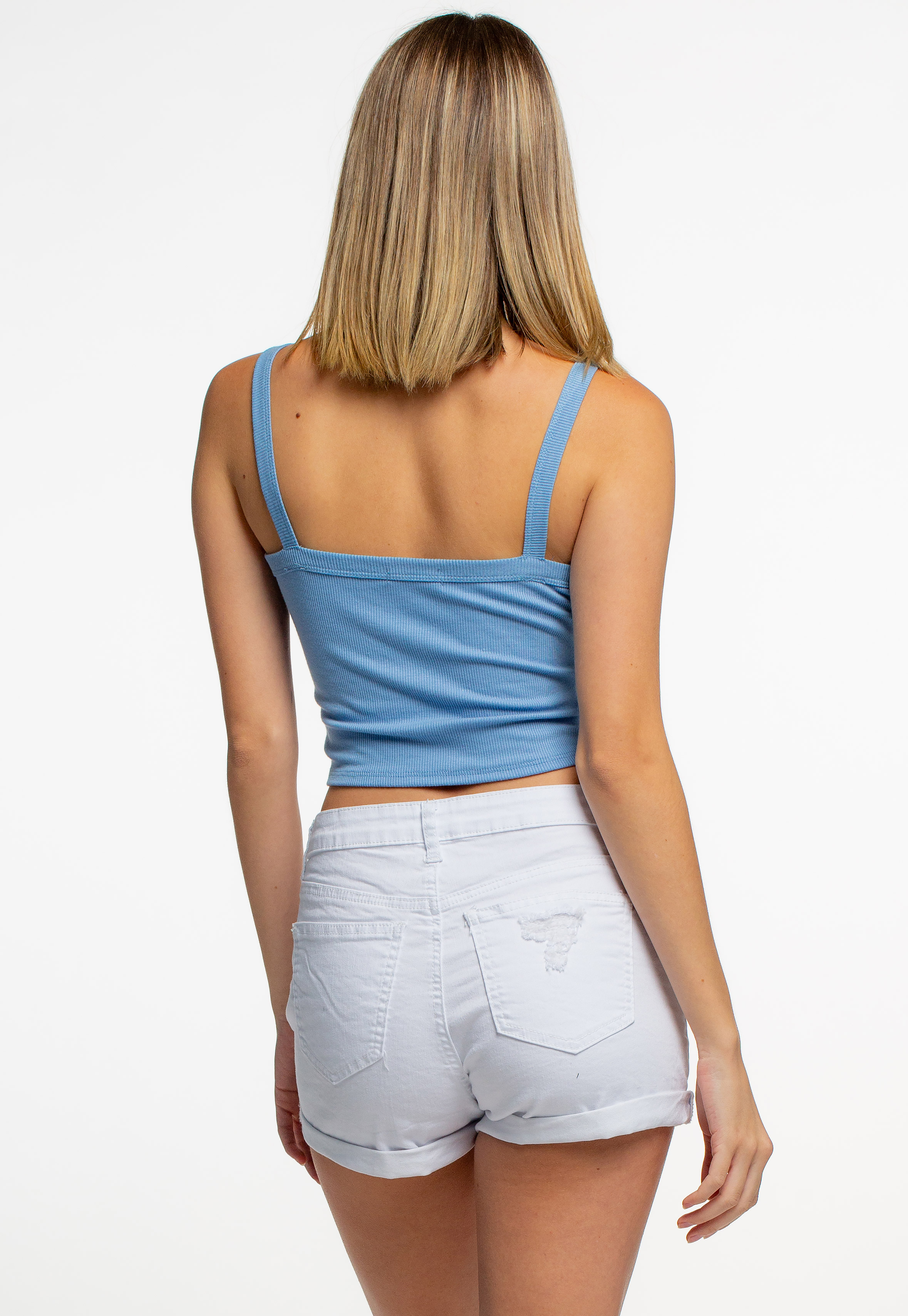 Slim Fit Ribbed Tie-Up Front Cami Crop Top