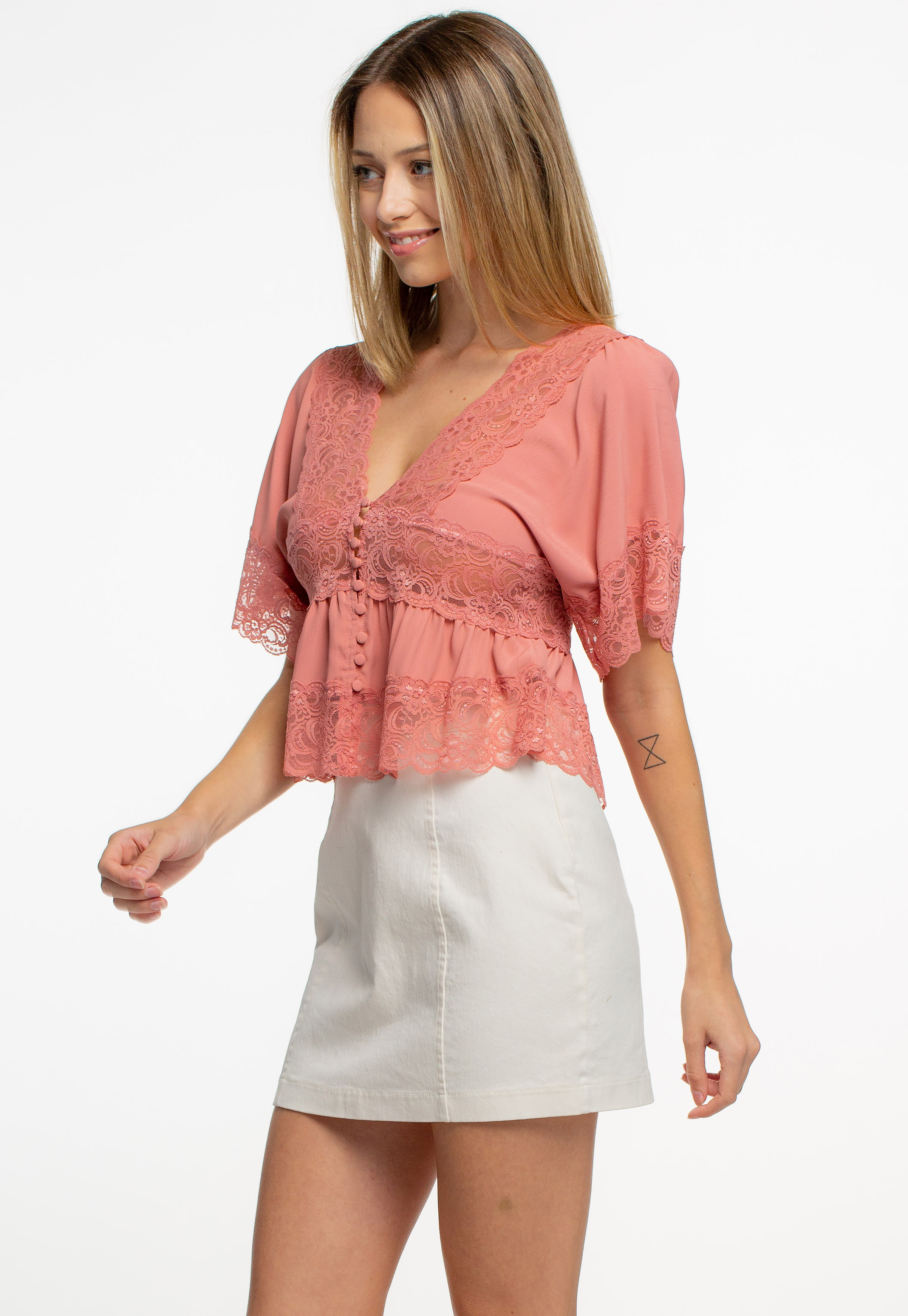 Lace-Trim Button-Front Top