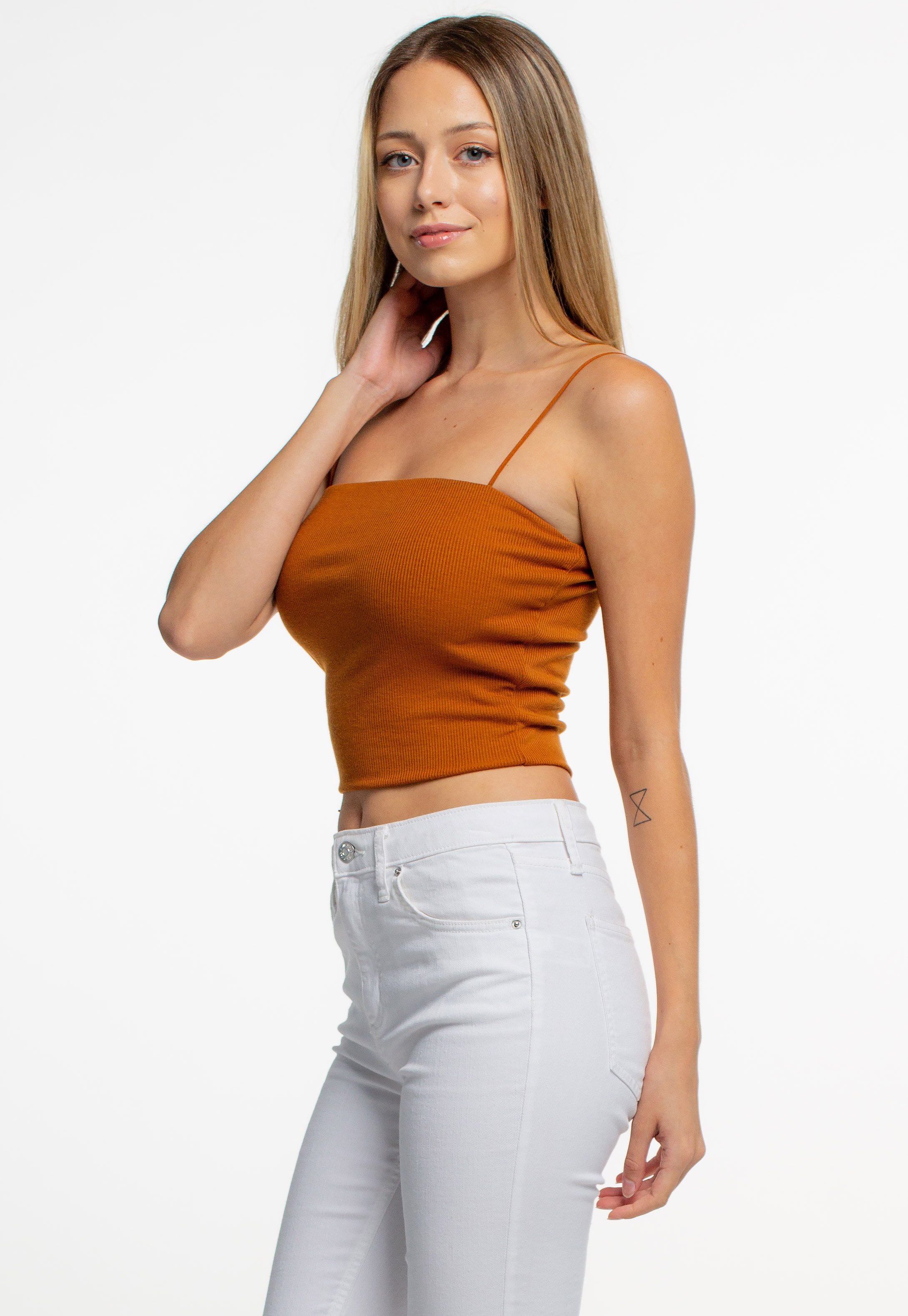 Straight Neck Ribbed Cami Crop Top