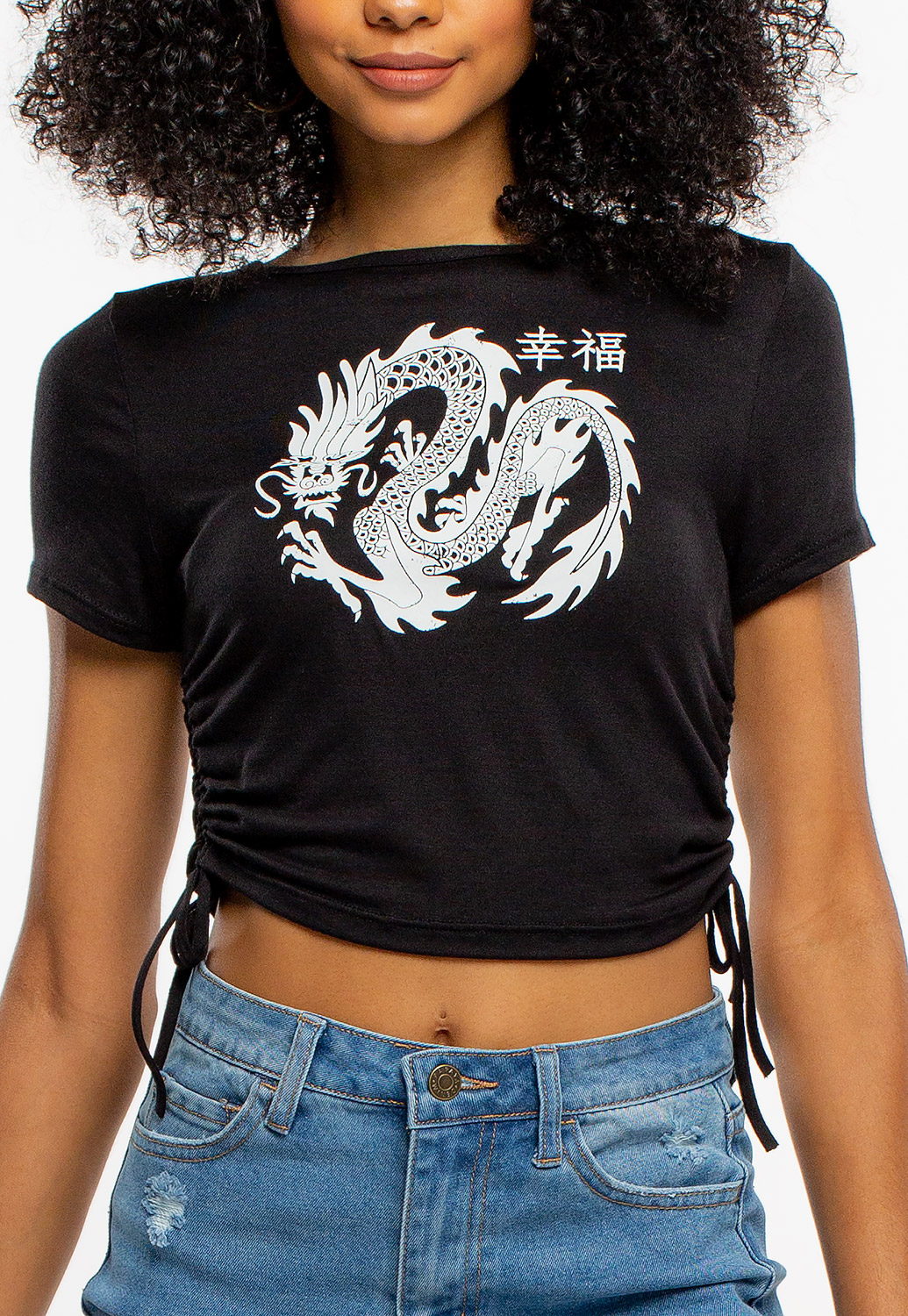 Side Drawstring Tie-Up Dragon Graphic Crop Top