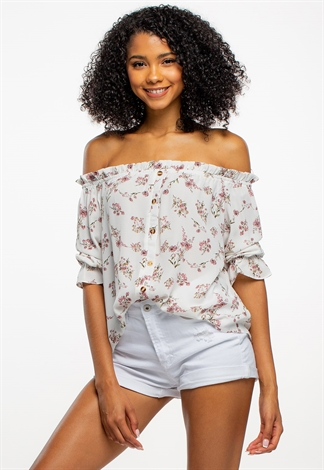 Off The Shoulder Floral Smocked Top