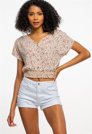Floral V-Neck Sleeve Blouse