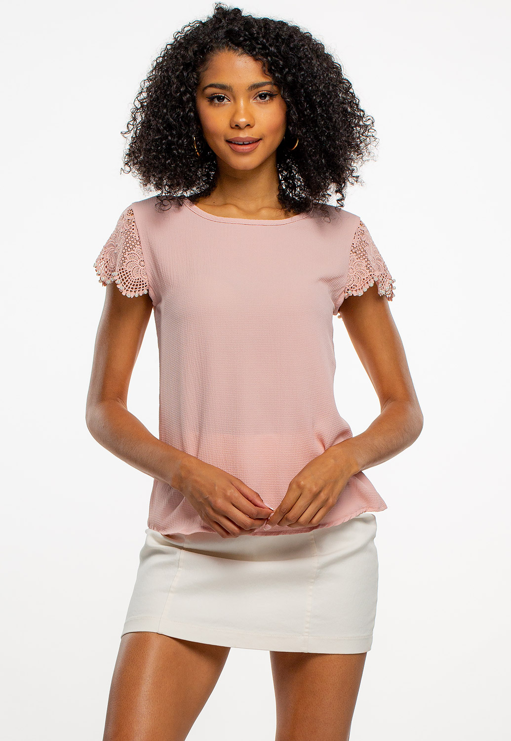 Blouse With Pearl Sleeve Details