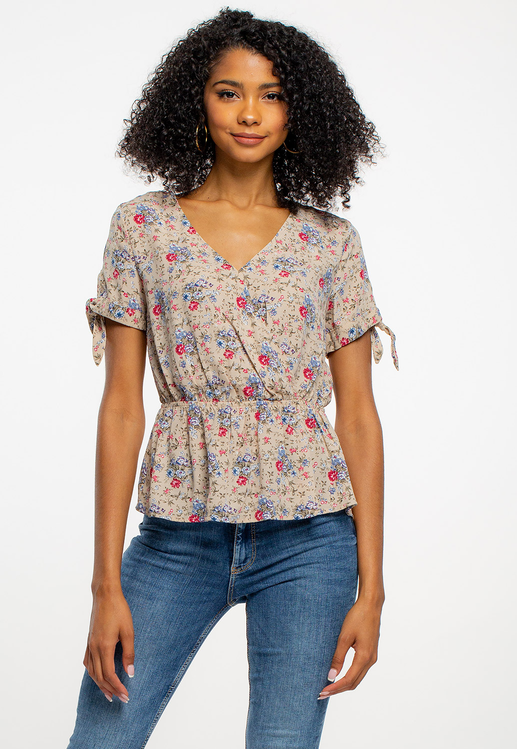 Floral Blouse With Tie Sleeve Details