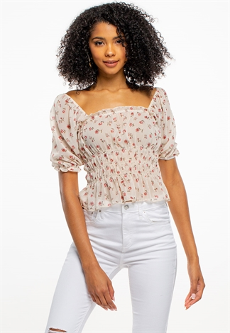 Floral Puff-Sleeve Blouse