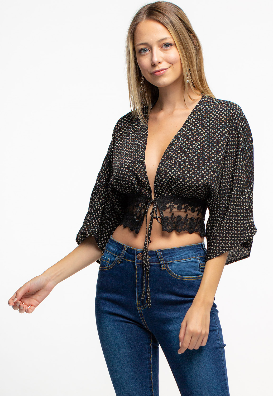 Deep V-Neck Cropped Tie-Up Blouse