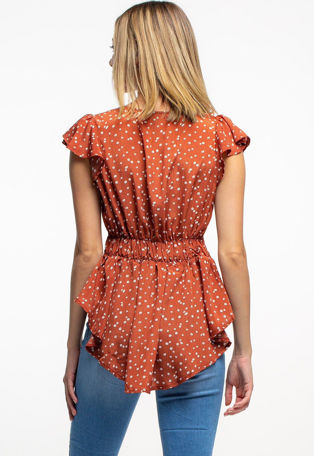 Floral V-Neck Ruffled Blouse