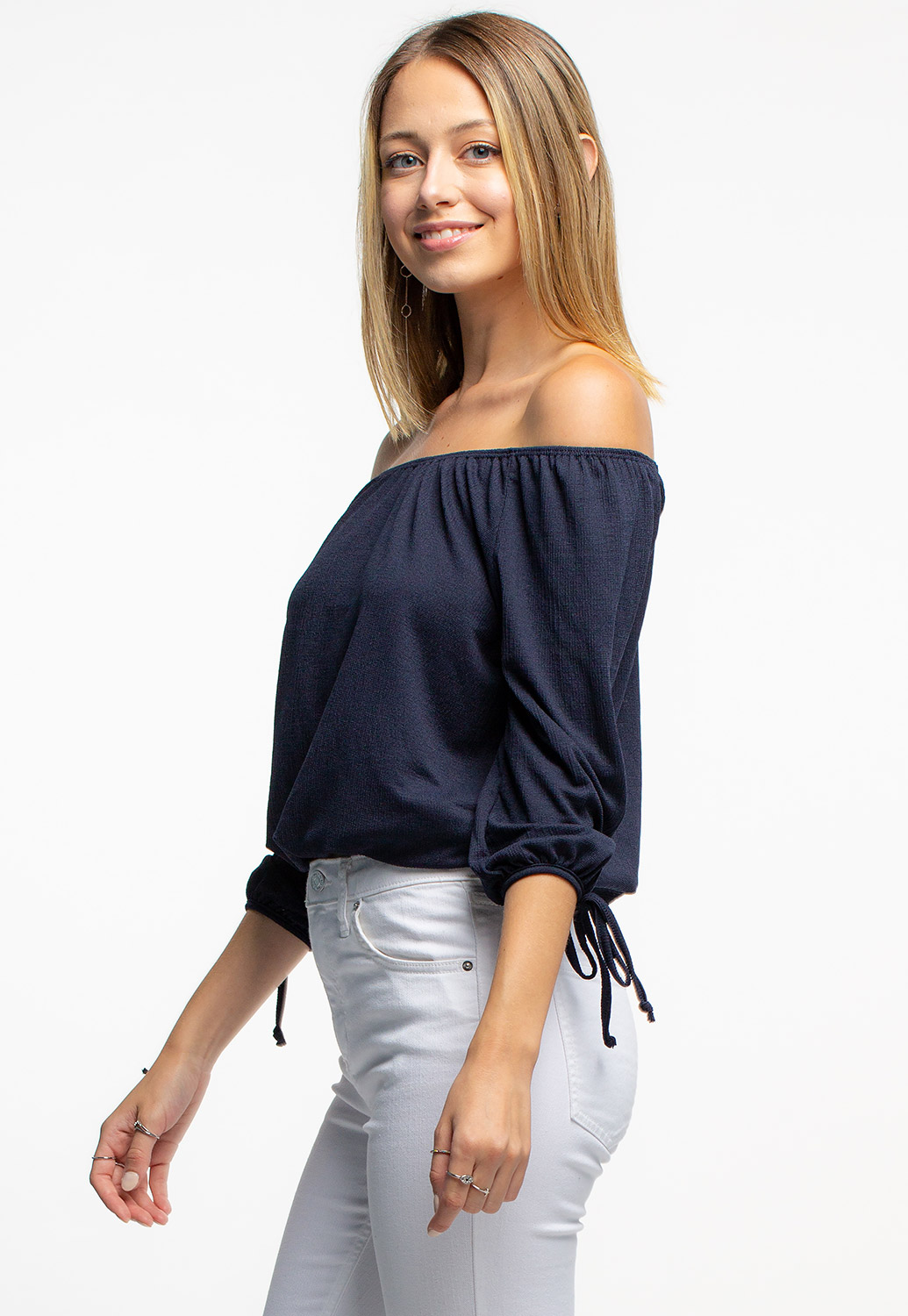 Off The Shoulder Blouse With Tie Sleeve Details